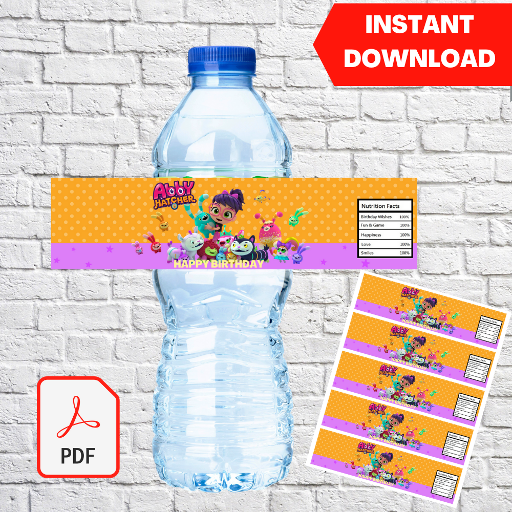 Abby Hatcher Water Bottle Label Printable