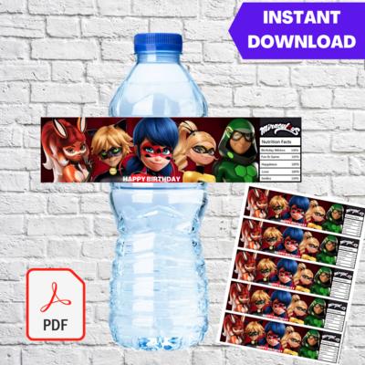 Miraculous Ladybug Water Bottle Label Printable