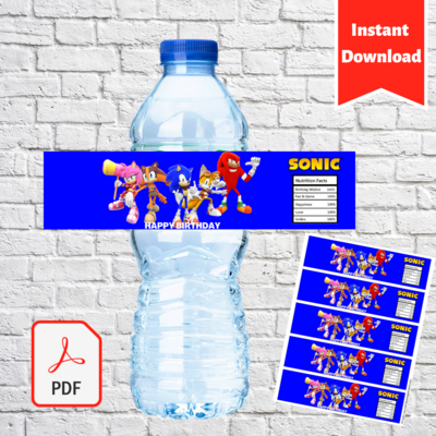 Sonic Party Water Bottle Label Printable