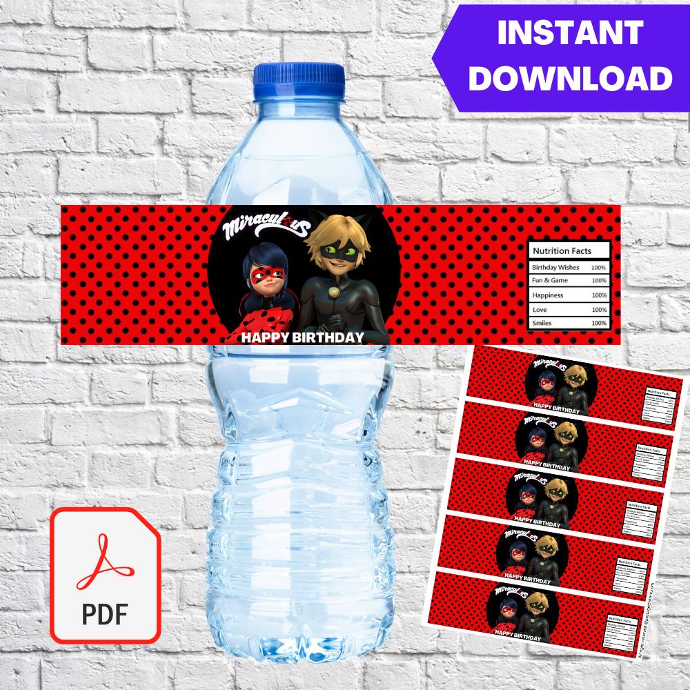 Miraculous Ladybug Party Water Bottle label