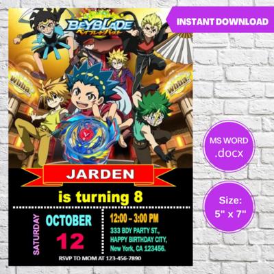 Beyblade Burst Birthday Party Invitation Template