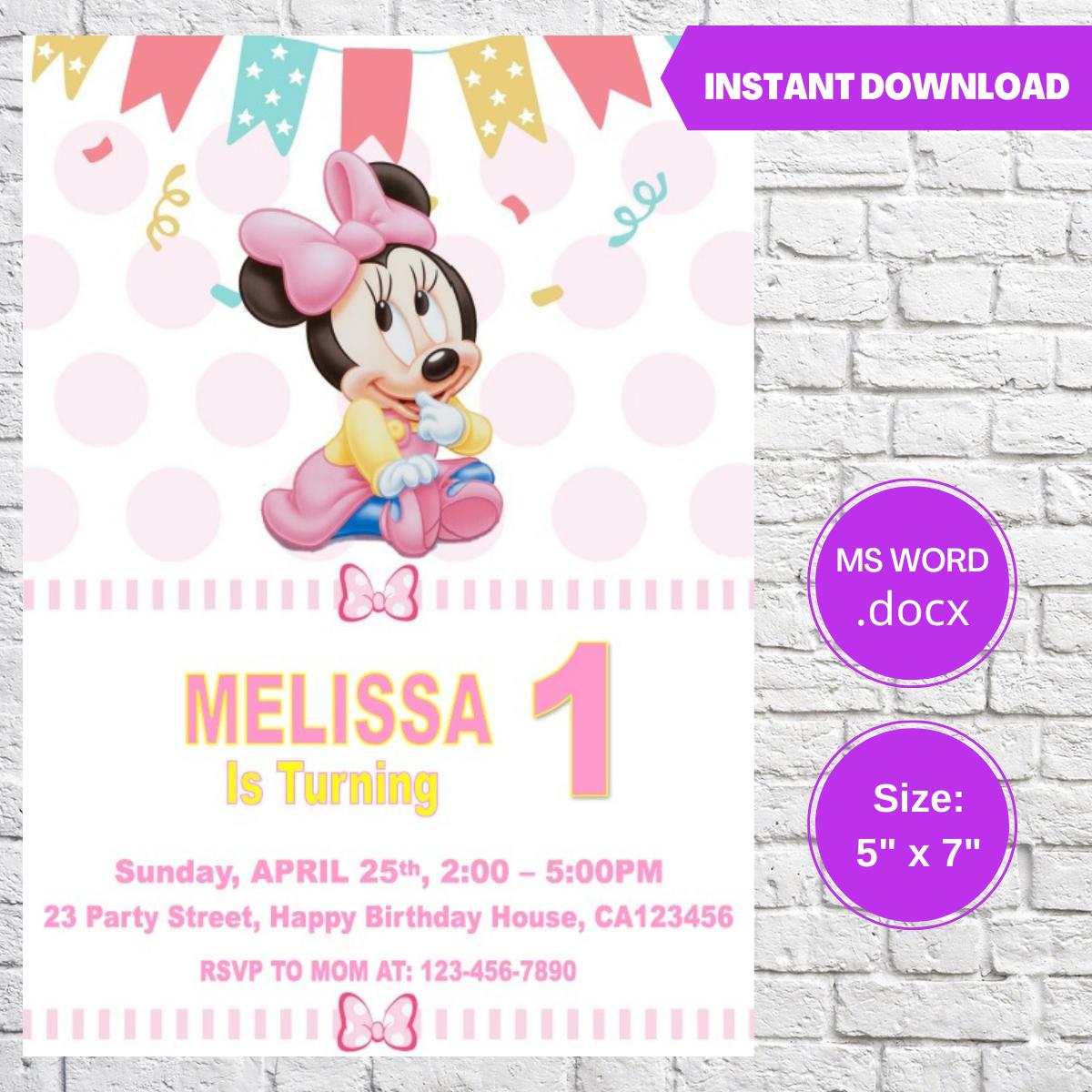 Minnie Baby Birthday Party Invitation Template