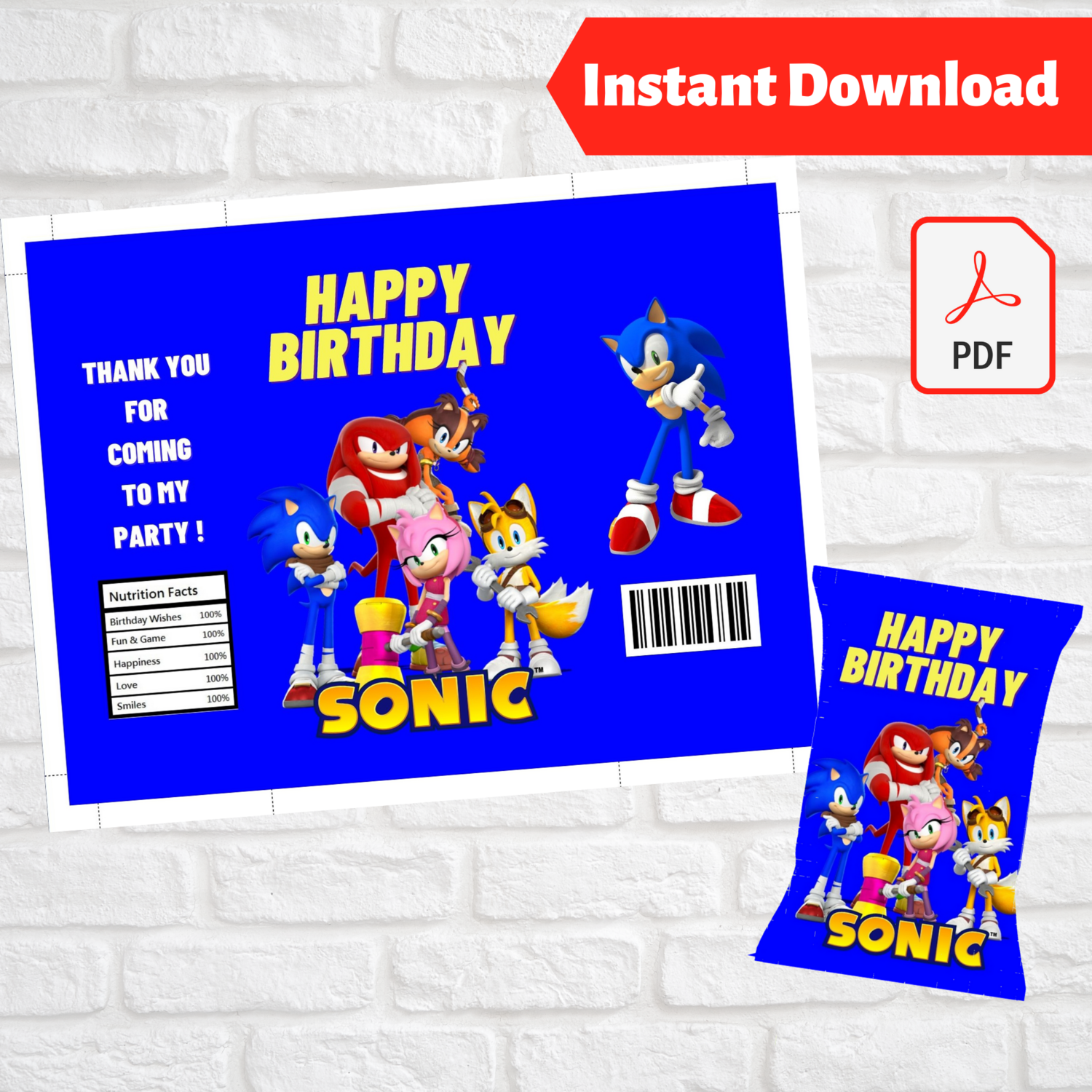 Sonic Party Favors Chip Bag Wrapper Printable