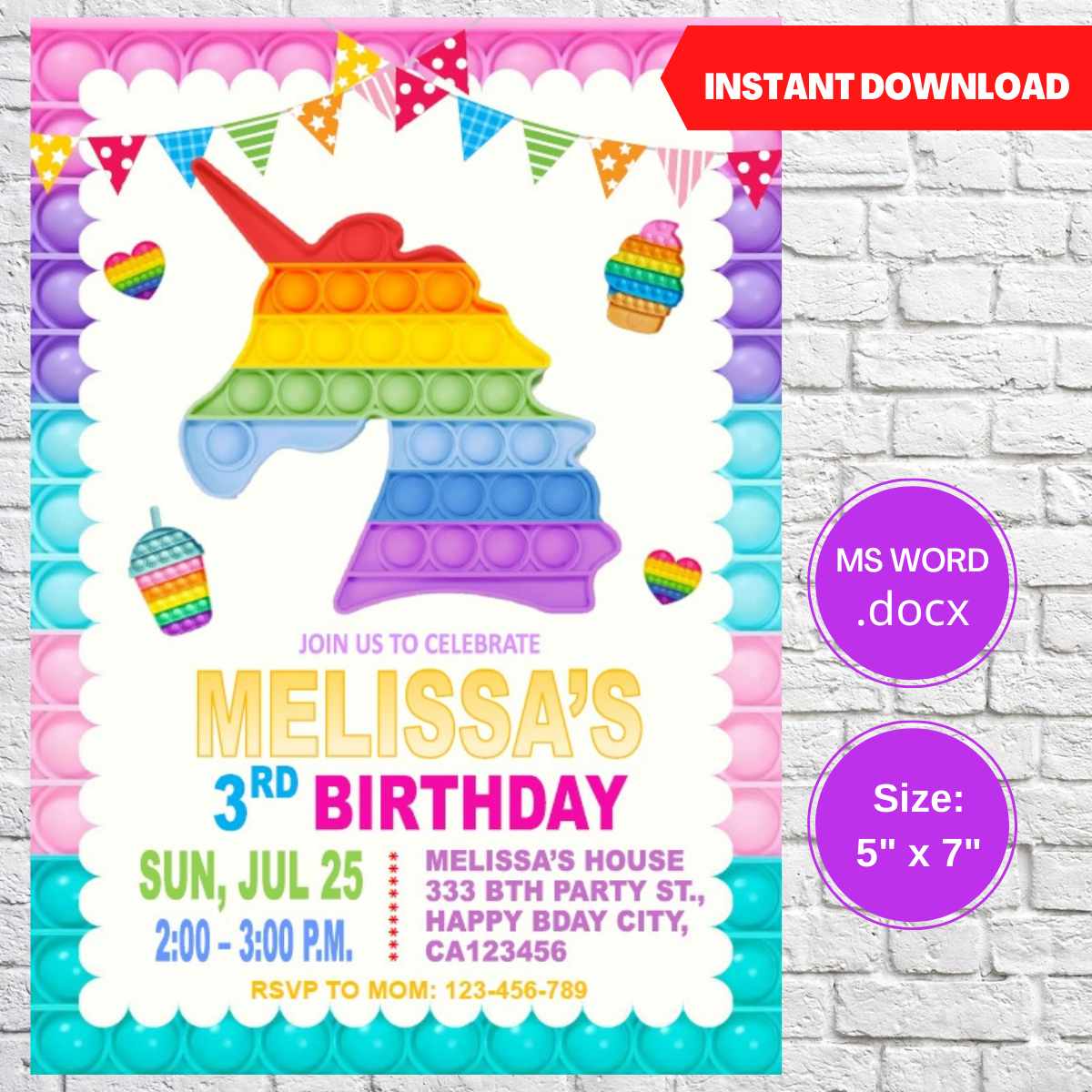 Pop It Fidget Birthday Party Invitation Template