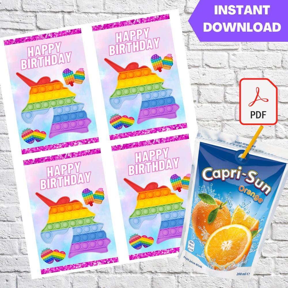 Pop It Fidget Bubble Capri Sun Labels Printable
