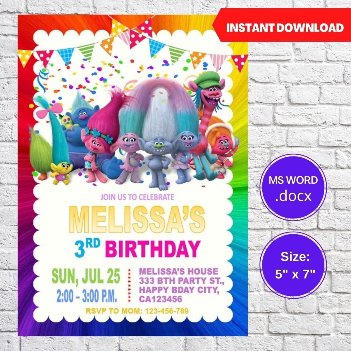 Trolls Poppy Party Birthday Invitation Template