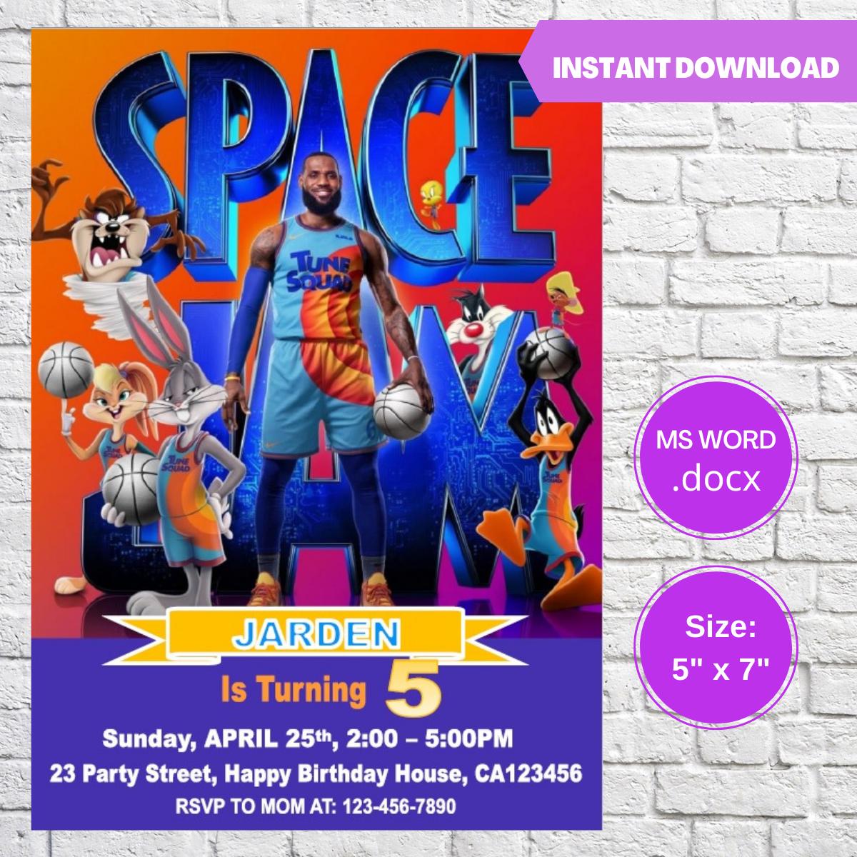 Space Jam Birthday Invitation Template