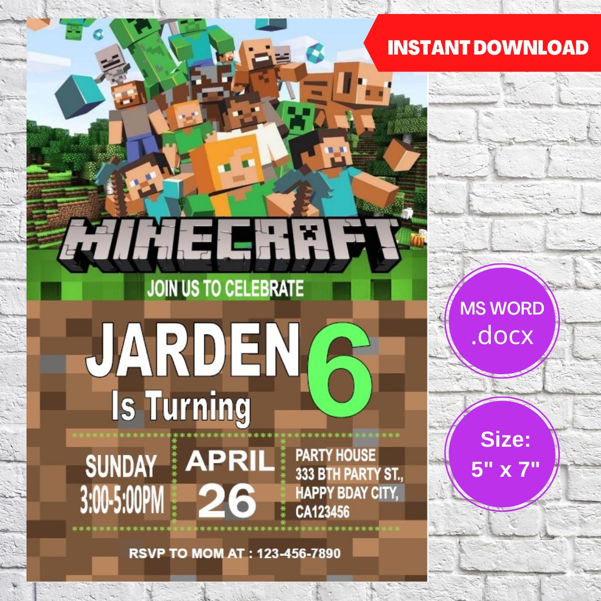 Minecraft Birthday Party Invitation Template