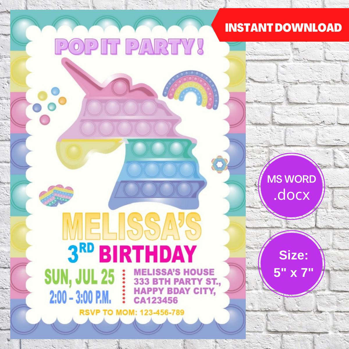 Pop It Unicorn Party Birthday Invitation Template