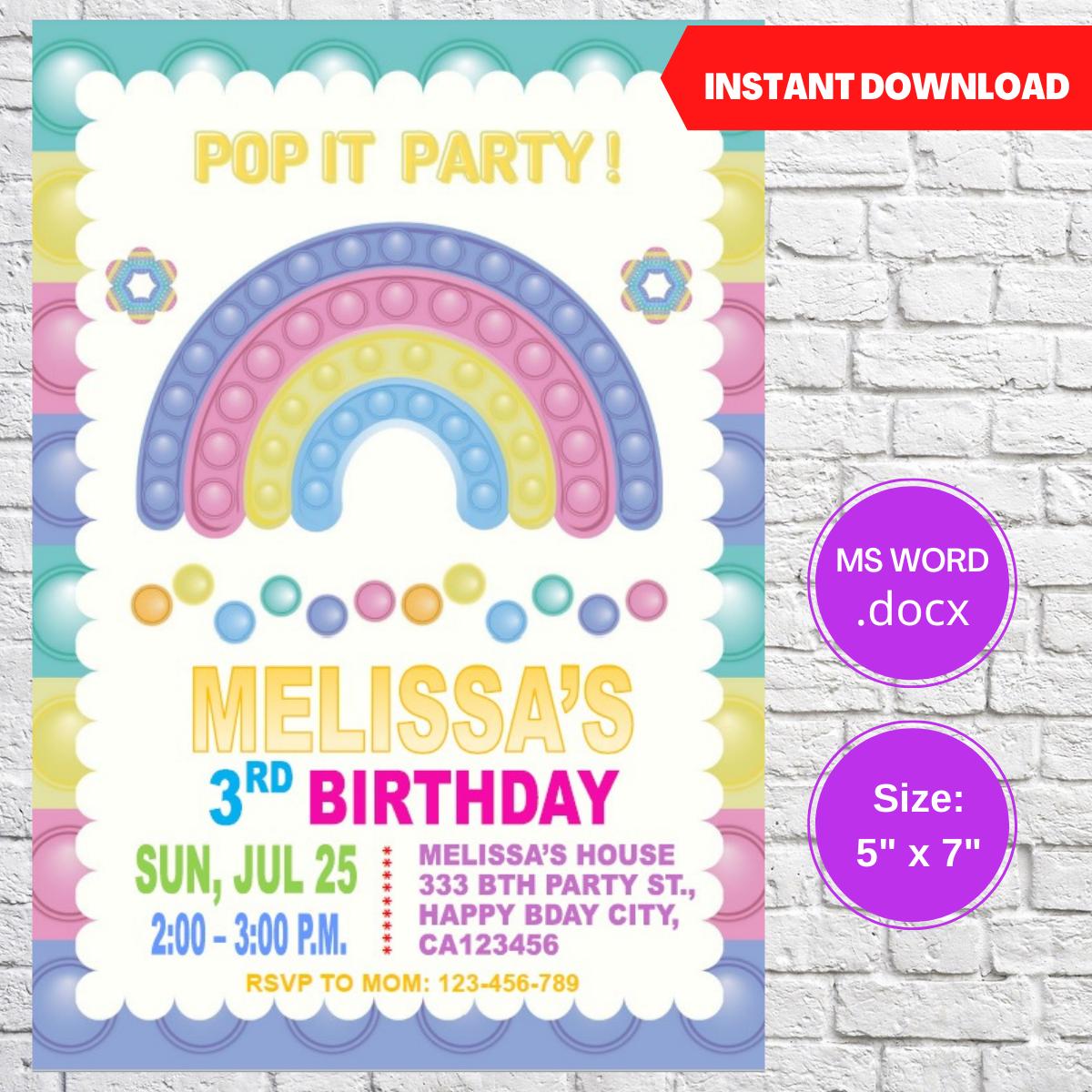 Pop it Bubble Rainbow Party Invitation Template