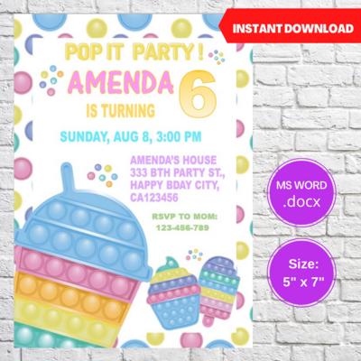 Pop It Bubble Fidget Toy Party Invitation Template