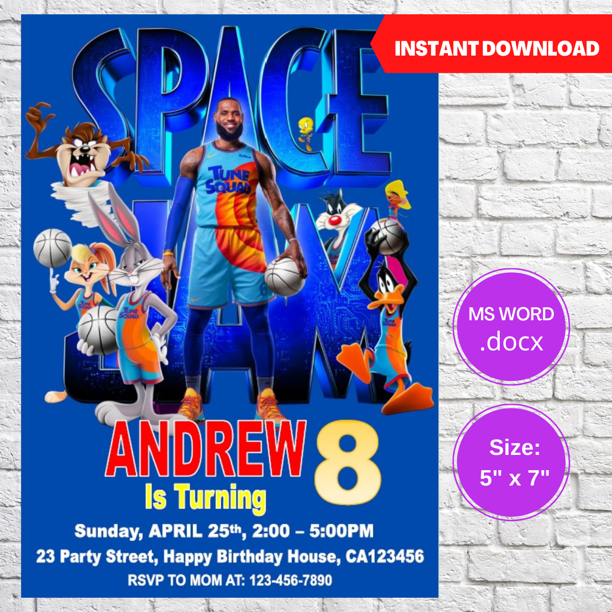 Space Jam 2 Party Birthday Invitation Template