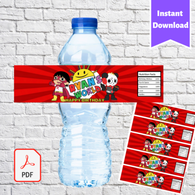 Ryan's World Party Water Bottle Labels Printable