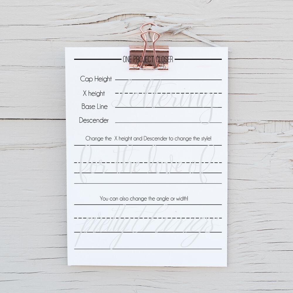 Lettering Practice Sheet- Forming Letters, Cursive