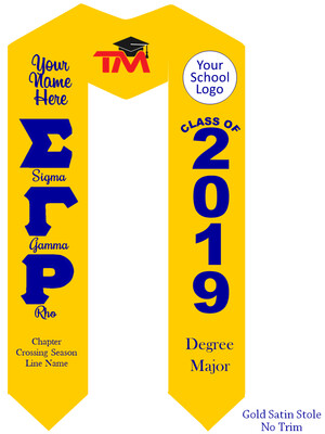 Sigma Gamma Rho Graduation Stole Greek Letters with words