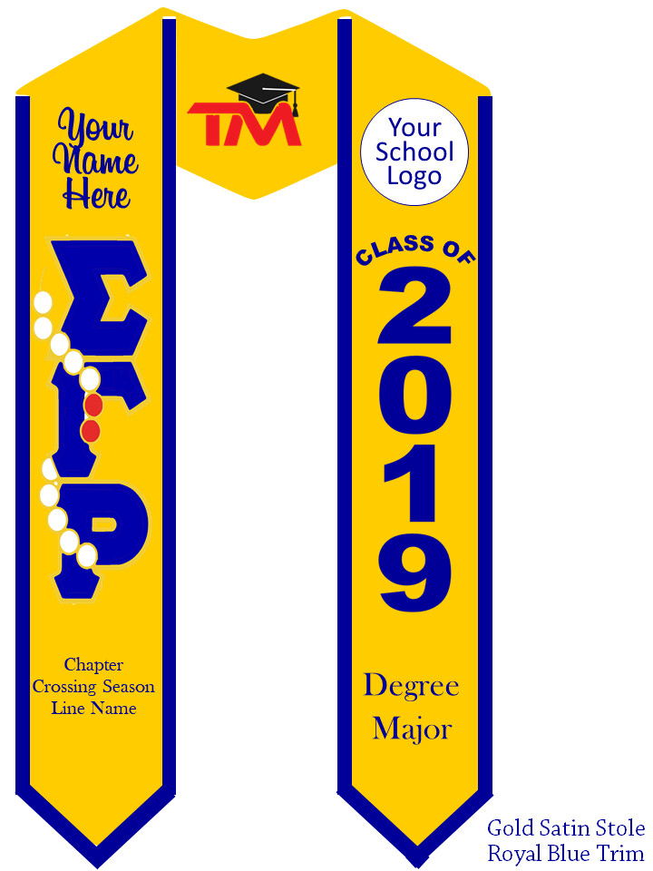 Sigma Gamma Rho Graduation Stole Pearls and Rubies Letters
