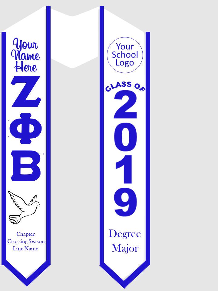 Zeta Phi Beta Graduation Stole Greek Letters with Dove