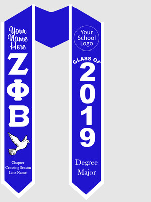 Zeta Phi Beta Graduation Stole Greek Letters with Dove