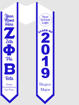 Zeta Phi Beta Graduation Stole Greek Letters with Words