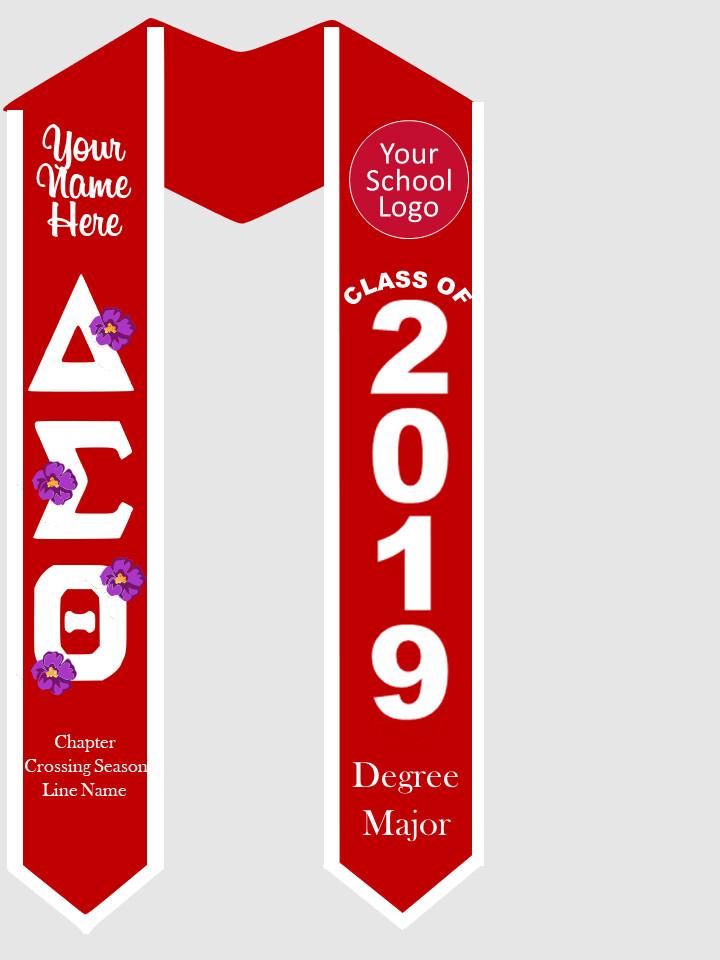 Delta Sigma Theta Graduation Stole African Violets Letters