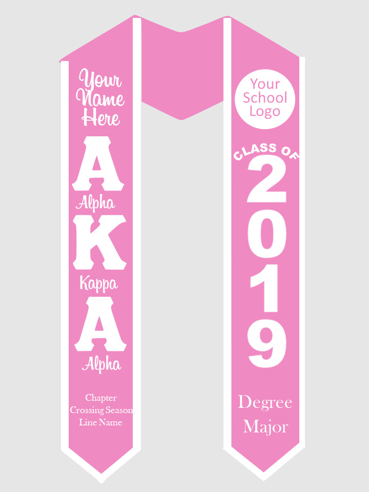 Alpha Kappa Alpha Graduation Stole Greek Letters with words