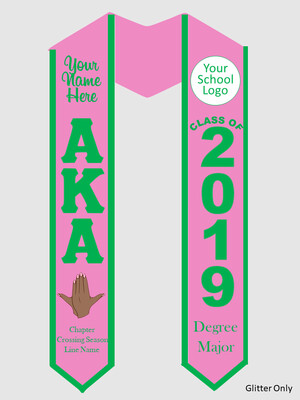 Alpha Kappa Alpha Graduation Stole with Ivy Hand Sign