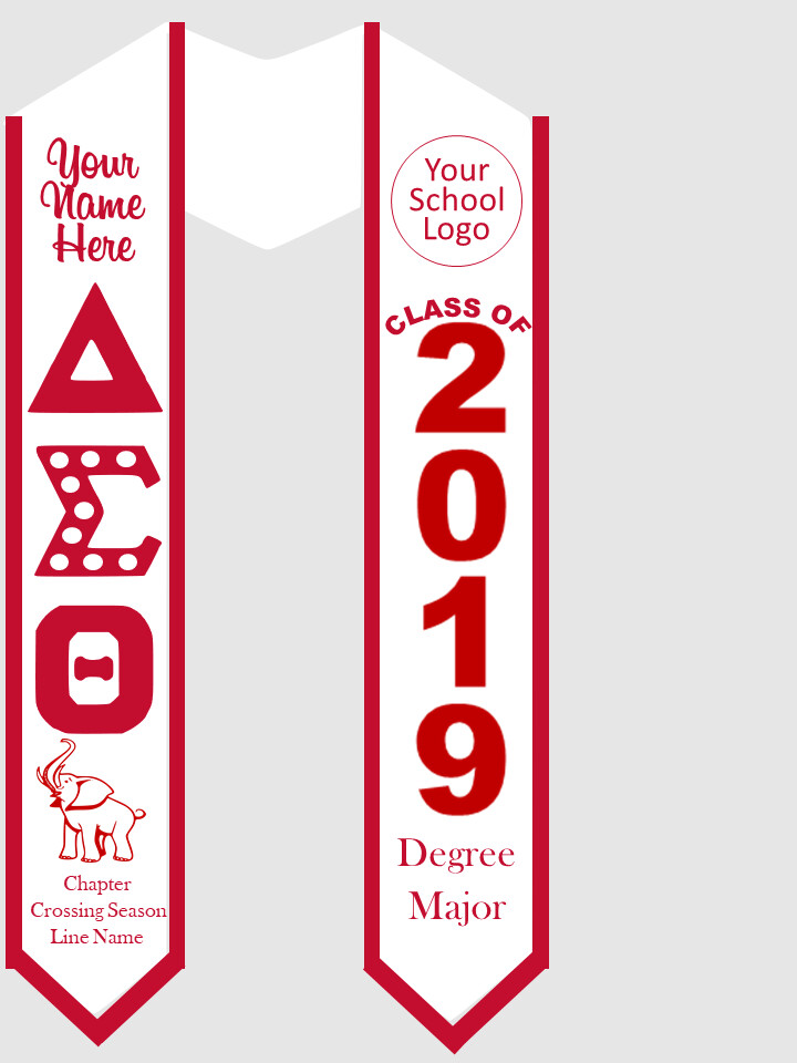 Delta Sigma Theta Graduation Stole Greek Letters with Pearls