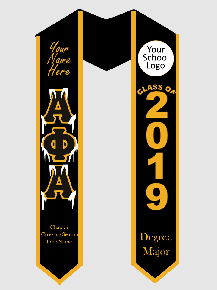 Alpha Phi Alpha Graduation Stole Greek Letters with Ice