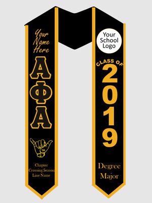 Alpha Phi Alpha Graduation Stole with Hand Sign