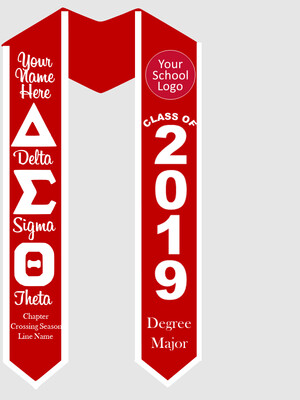 Delta Sigma Theta Graduation Stole Greek Letters with Words