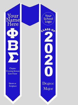 Phi Beta Sigma Graduation Stole Greek Letters