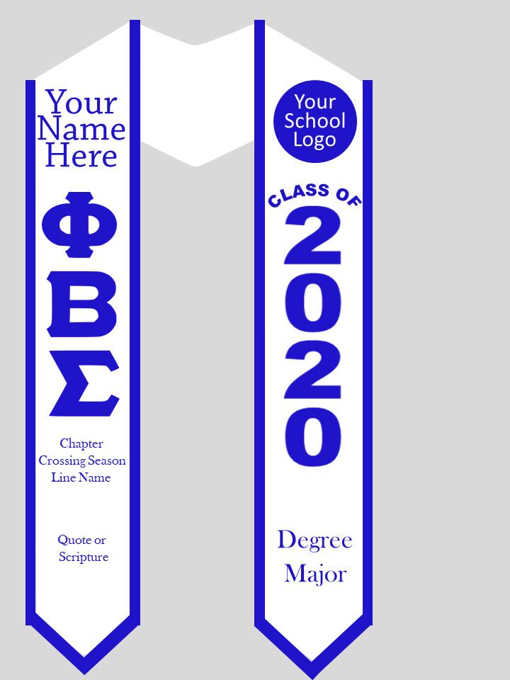 Phi Beta Sigma Graduation Stole Greek Letters