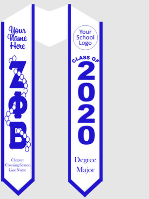 Zeta Phi Beta Graduation Stole Greek Letters with Pearls