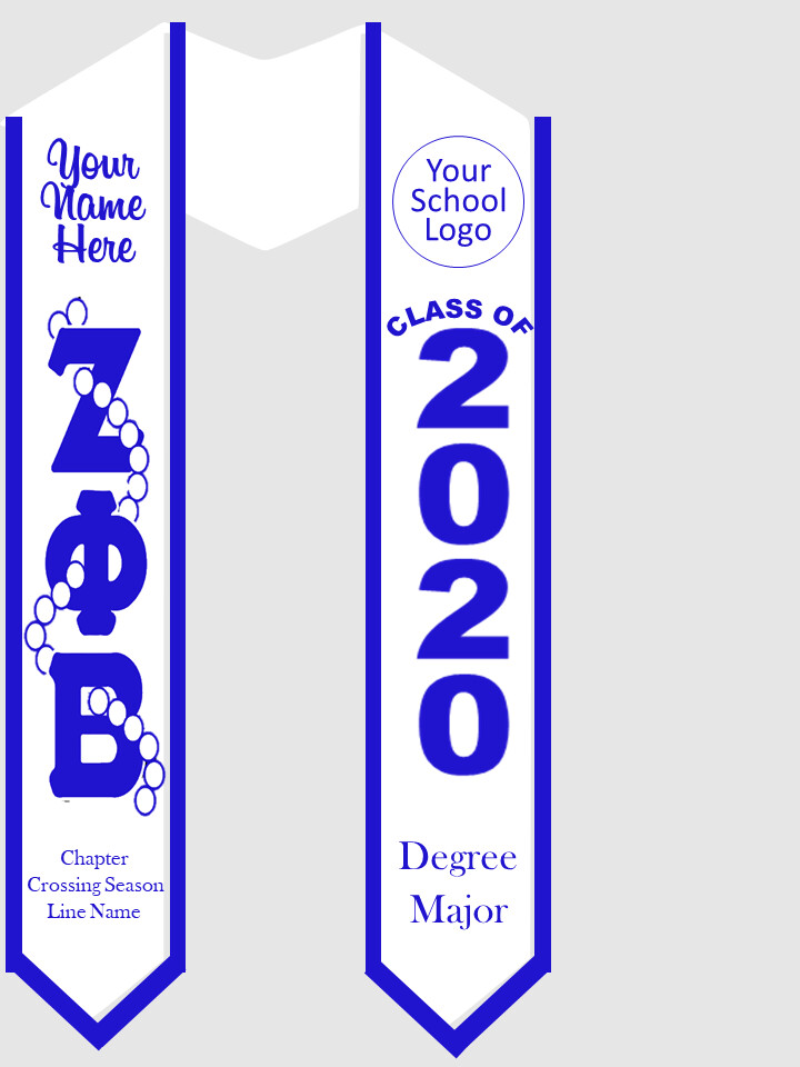 Zeta Phi Beta Graduation Stole Greek Letters with Pearls