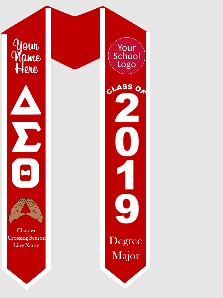 Delta Sigma Theta Graduation Stole Greek Letters with Hand Sign