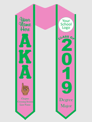 Alpha Kappa Alpha Graduation Stole with Pinky Hand Sign