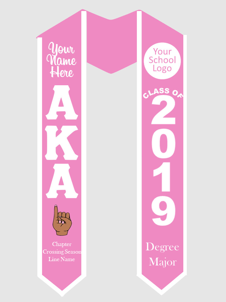 Alpha Kappa Alpha Graduation Stole with Pinky Hand Sign