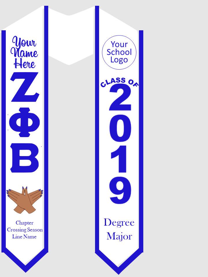 Zeta Phi Beta Graduation Stole with Dove Hand Sign