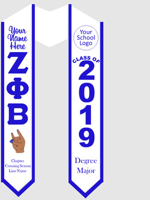 Zeta Phi Beta Graduation Stole with Kitty Hand Sign