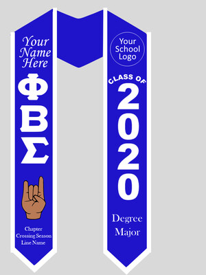 Phi Beta Sigma Graduation Stole with Hand Sign