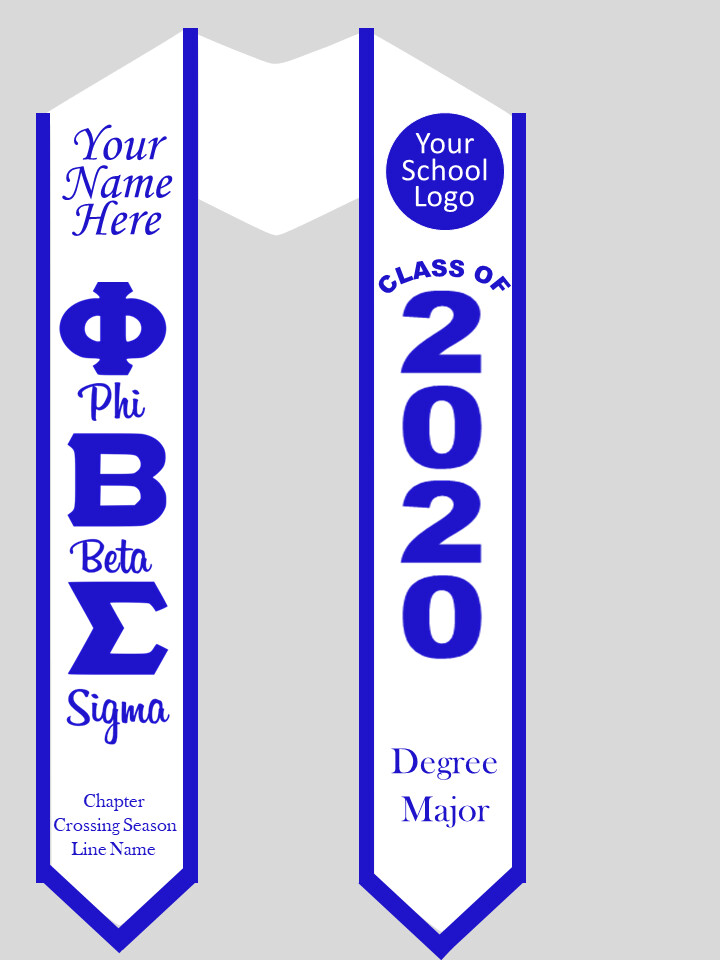 Phi Beta Sigma Graduation Stole Greek Letters with Words