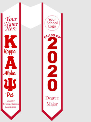 Kappa Alpha Psi Graduation Stole Greek Letters with Words