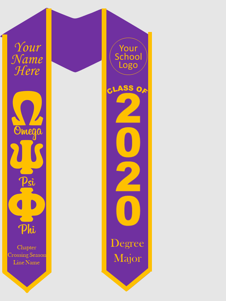 Omega Psi Phi Graduation Stole Greek Letters with Words