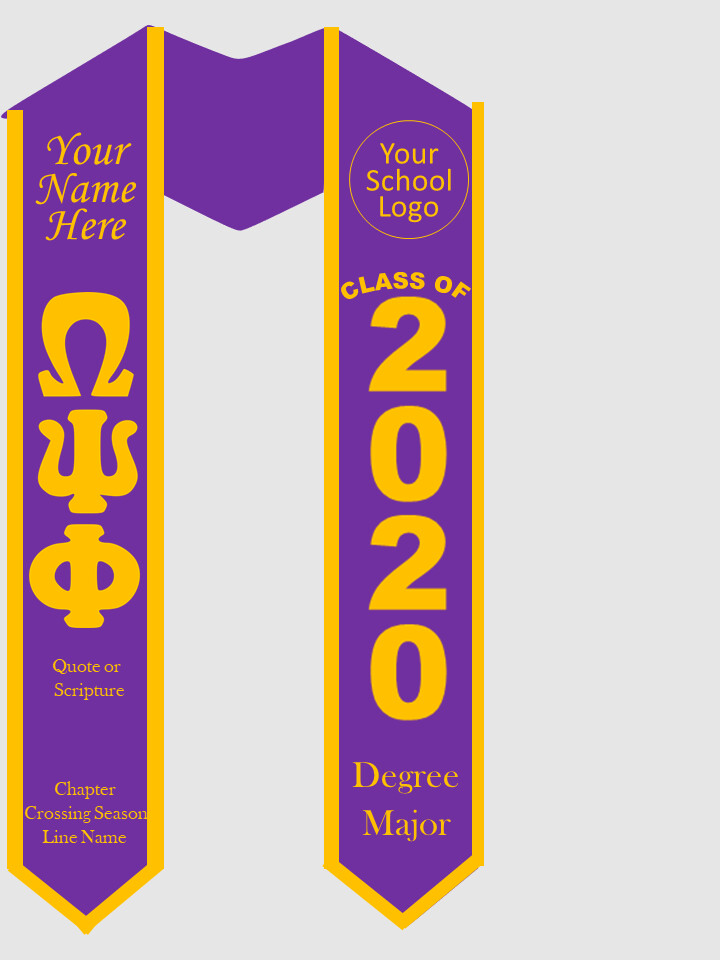 Omega Psi Phi Graduation Stole Greek Letters