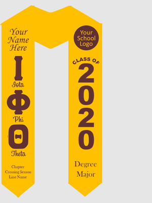 Iota Phi Theta Graduation Stole Greek Letters with Words