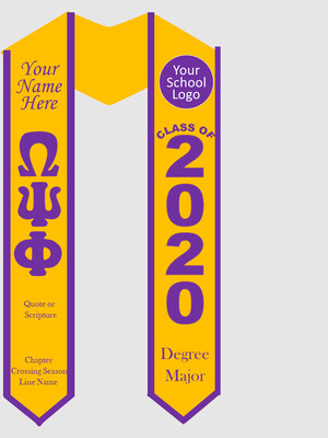 Omega Psi Phi Graduation Stole Greek Letters