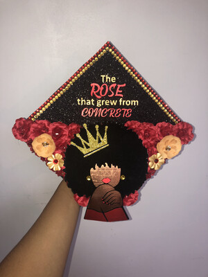 "Grad Cap Topper ""The rose that grew from concrete"""