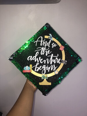 "Grad Cap Topper ""And so the adventures begin"""