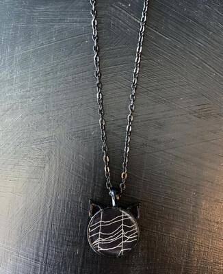 Spiderweb Black Cat Necklace