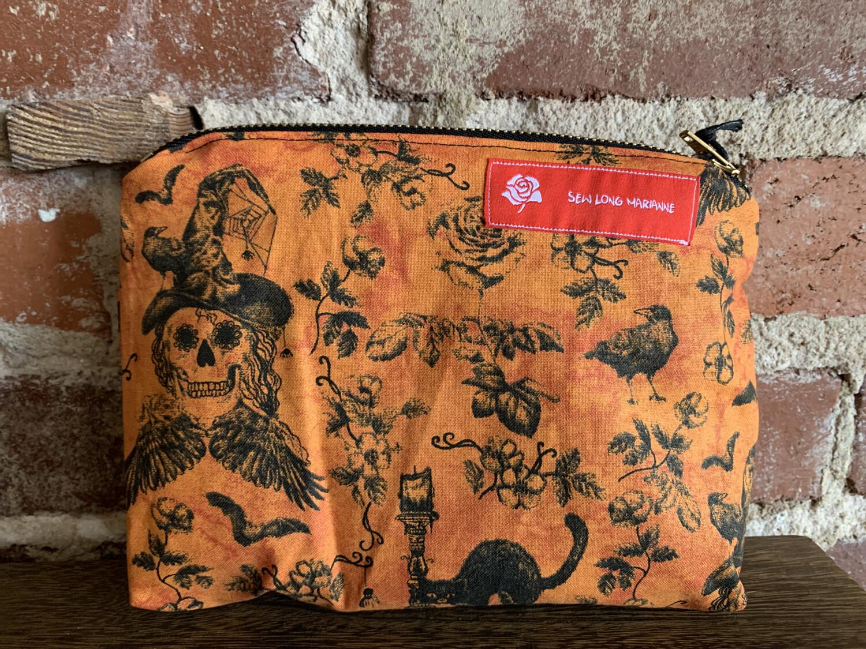 Witch Skull & Black Cat Zipper Bag